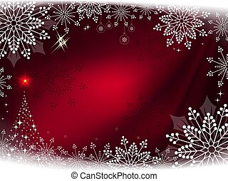Christmas dark red background with gorgeous snowflakes and abstract christmas tree