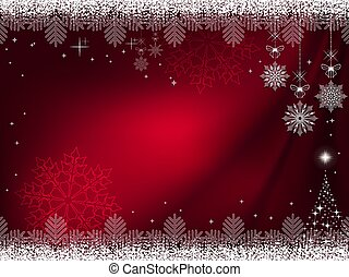 Christmas dark red background with gorgeous snowflakes on the pendants