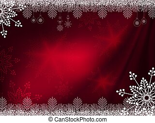 Christmas dark red background with magnificent snowflakes