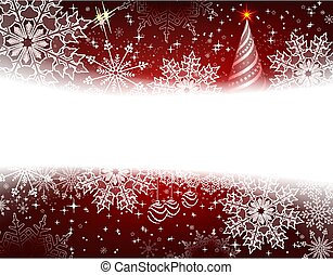 Christmas dark red background with snowflakes, balls and abstract Christmas tree.