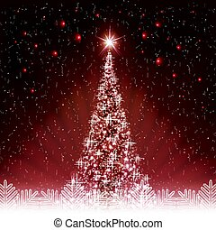 Christmas dark red card with shiny Christmas tree.
