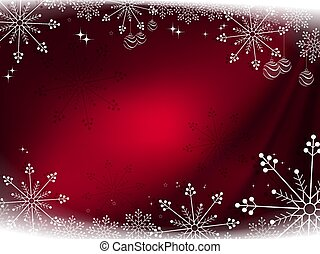 Christmas dark red composition with beautiful gorgeous snowflakes