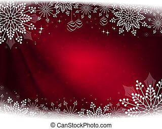 Christmas dark red composition with beautiful white snowflakes