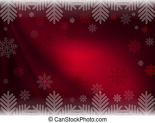 Christmas dark red composition with magnificent snowflakes