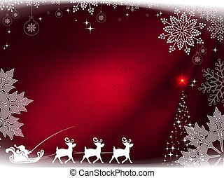 Christmas dark red composition with Santa Claus on a sleigh with deers and magnificent snowflakes