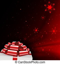 Christmas dark red composition with snowflakes, white box lid silhouette, red bow