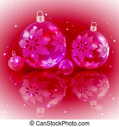 Christmas dark red design with a set of Christmas shiny balls with snowflakes,