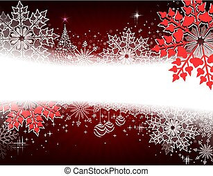 Christmas dark red design with a small tree, balls and large red snowflakes