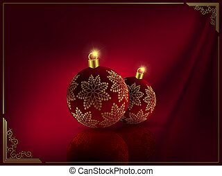 Christmas dark red design with balls with golden snowflakes