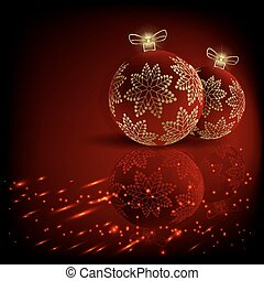 Christmas dark red design with balls