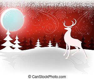 Christmas dark red design with moon and deer