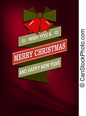Christmas dark red illustration with bells and text