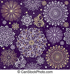 Christmas dark violet seamless pattern with white and gold...
