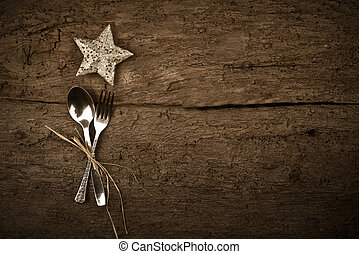 Christmas day dinner rustic background - Christmas day...