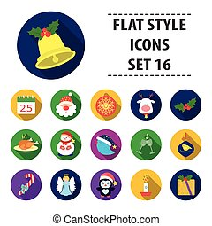 Christmas Day set icons in cartoon style. Big collection of Christmas Day vector symbol stock illustration
