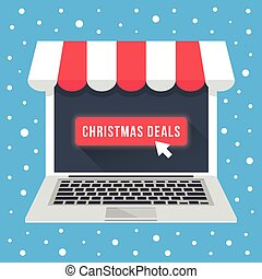 Christmas deals. Laptop with awning, mouse cursor and glowing big red button on screen. Christmas sale, discount, special offers, clearance concept. Front view. Modern flat design vector illustration