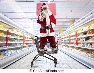 Christmas deals - Santa Claus shouting Christmas deals at...