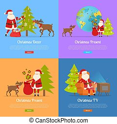 Christmas Decor and Present with Santa Claus.
