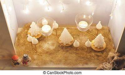 Christmas decor, Christmas Background, fireplace. -...