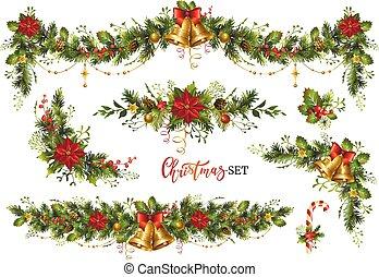 Christmas decor elements set for your design. Garland festive set.