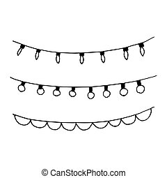 christmas decor garland sketch set icon, sticker, card hand drawn doodle. Scandinavian, minimalism, monochrome. collection of elements for design new Year