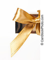 Gold bow isolated on a white background
