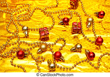 Christmas decor on a gold background