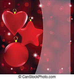 christmas decor on abstract red light - christmas glass ...