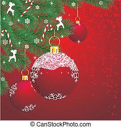 christmas decor on red