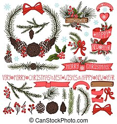 Christmas decor set. Spruce branches, pine cones group