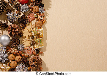 Christmas decor with copy space. Flat lay. Toys cones and New Year attributes. The concept of a festive mood.