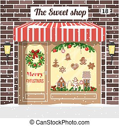 Christmas decorated and illuminated sweet shop, candy store, confectionery. Cozy Brick building facade with entrance, awning, door, shopfront, gingerbread man, wreath, garland, lollipop lamps vector