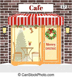 Christmas decorated Cafe or coffee shop. Building facade of...