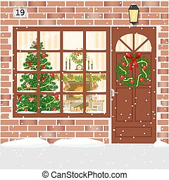 Christmas decorated door, house entrance with wreath