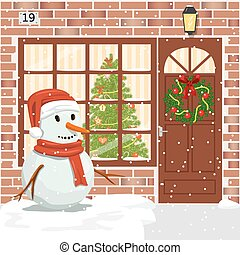 Christmas decorated door, house entrance with wreath. ...