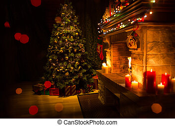 Christmas decorated interior with fireplace and xmas tree