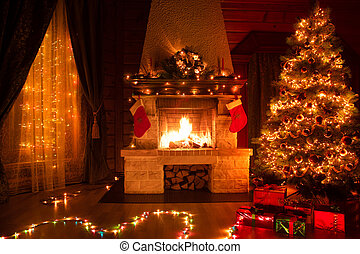Christmas decorated interior with fireplace, window and xmas tree