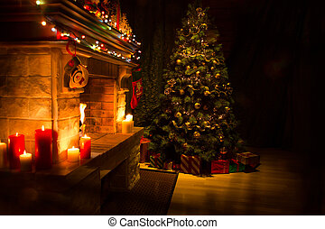 Christmas decorated living room interior with fireplace and xmas tree