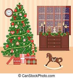 Christmas decorated room with xmas tree, window, toys