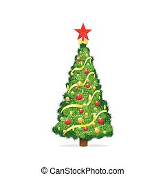 christmas decorated tree isolated over white background ...