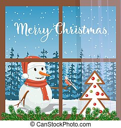 Christmas decorated window, with fir garland, gingerbread. View of Smiling Snowman Frosty in santa hat with bullfinch, forest, snowfall
