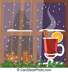 Christmas decorated window with mulled wine