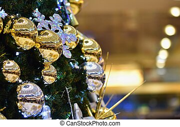 Christmas decoration. Abstract colorful background with Christmas tree.