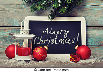 Christmas decoration and framed blackboard - Christmas...
