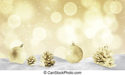 christmas decoration and golden sparkles loop - christmas...