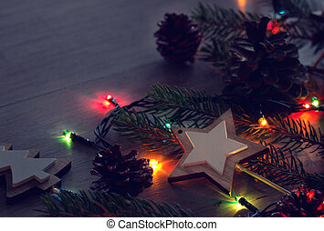 Christmas decoration and lights on table - Xmas decoration...