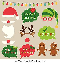 Christmas decoration and photo booth props (Santa, elf, reindeer) set