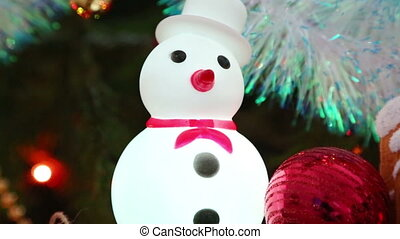 Christmas decoration  and snowman - pan view