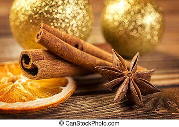 Christmas decoration, anise, cinnamon, dried orange