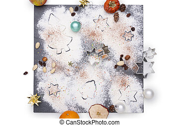Christmas decoration arranged on a plate of slate